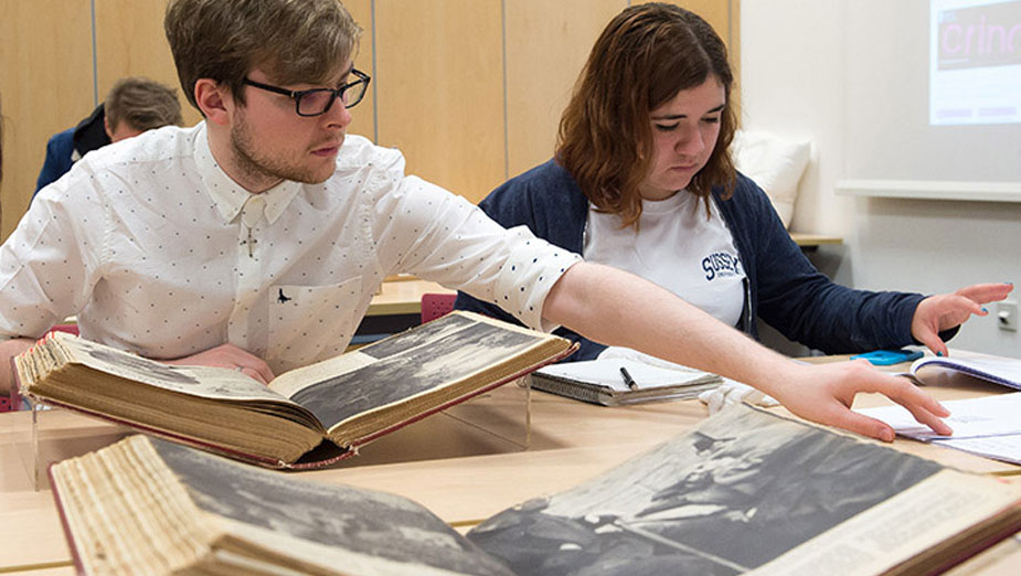 Students studying historical records